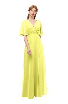 66b9d0bd6b8b ColsBM Dusty - Pale Yellow Bridesmaid Dresses. ColsBM Dusty Pale Yellow Bridesmaid  Dresses Pleated Glamorous Zip up Short Sleeve Floor Length ...