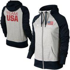 Nike USA Ladies All Time Full Zip Performance Hoodie - Ash/Navy Blue