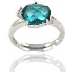 Sortija Plata Piedra Azul Y Circonitas