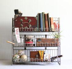 vintage industrial wire shelving shelf / rack by wretchedshekels,