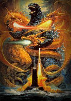 Godzilla vs. King Ghidorah (1991)-Painting by Noriyoshi