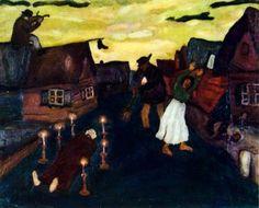 """El cementerio aparece con frecuencia en Chagall. Un incidente que impresionó al joven artista fue la muerte de un hombre asesinado en la calle. El cadáver rodeado de velas se encuentra en el suelo sin nadie que se preocupe por él. Su viuda levanta sus brazos. Sobre una choza de Vitebsk, está sentado un violinista. El """"Muerto"""" (1908) cuando Chagall usaba  pinturas oscuras,"""