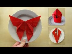 3 Napkin folding techniques: Butterfly 🦋, Lily, Pocket Folding napkins: 3 simple instructions (butterfly) DIY deco tinker with paper napkins – DIY guide Fancy Napkin Folding, Iris Folding, Folding Napkins, Origami Invitations, Easy Origami Star, Japanese Origami, Diy Butterfly, Christmas Napkins, Diy Birthday