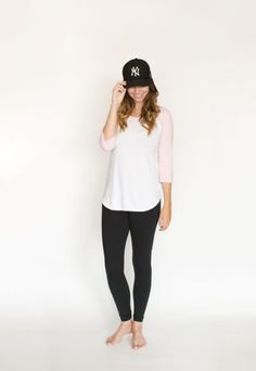 *pre-sale* Baseball tee - pink/white (ships in 2 to 4 weeks) - Buttercream Clothing Comfortable Fashion, Spin, Searching, Pink White, Bamboo, Cotton Fabric, How To Make, How To Wear, Baseball