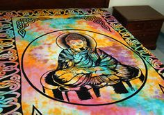 Buddha Tapestry Hippie Tie Dye -Decorative Wall Hanging-Light Bedspread-Throw-A