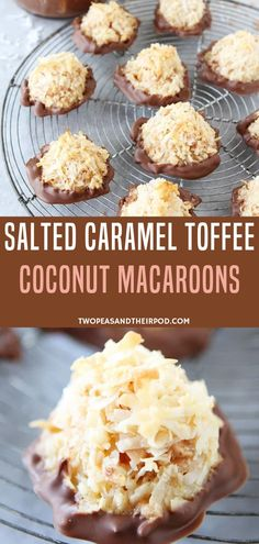 If you are looking for sweet treats that's easy to make, try this homemade Salted Caramel Toffee Coconut Macaroons Dipped in Chocolate. The addition of salted caramel, toffee, and chocolate make these the BEST coconut macaroons ever! Salted Caramel Macaroons, Chocolate Macaroons, Coconut Macaroons, Macarons, Just Desserts, Delicious Desserts, Cookie Recipes, Dessert Recipes, Macaroon Cookies