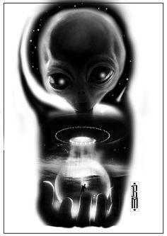 Alien cosmos ufo tattoo design aliens digital
