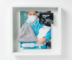 Baby Shadowbox - hat, hospital bracelet, first picture with family and ultrasound