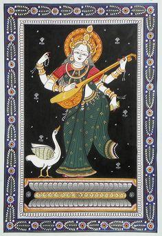 Devi Saraswati - Goddess of Knowledge and Music (Orissa Pattachitra Painting on Patti - Unframed)