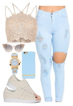 *Classic Casual* by kierrarobertson478 on Polyvore featuring polyvore River Island adidas Originals Versace Richmond & Finch fashion style clothing