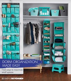DORM ORGANIZATION MADE EASY 3 ways to maximize small spaces 1. OVER-THE-DOOR ORGANIZER Transform the back of your closet door into a storage space for shoes, scarves and toiletries. 2. HANGING STORAGE These are great for keeping bulky sweaters or blankets folded up and out of the way. 3. SLIM HANGERS Triple closet space and keep clothes in place by choosing ultra-thin hangers with a velvety surface. Chaise Lounges, Door Shoe Organizer, Futon Covers, College Life, Closet Storage, Dorm Room, Aqua, Camper, Organization