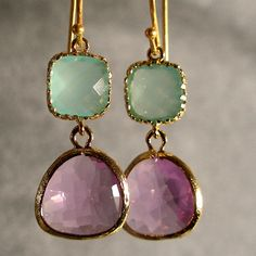 gold, pearl opal lavender glass earings
