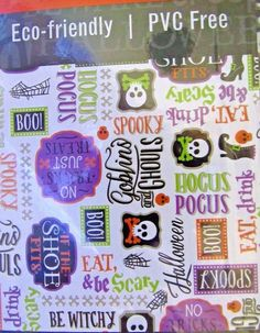 "Halloween Tablecloth Skulls And Sayings Vinyl With Polyester Back 60"" Round…"