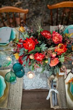 Place settings & table centerpiece idea- boho chic wedding