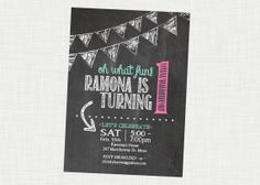 adorable chalkboard 1st birthday invitation