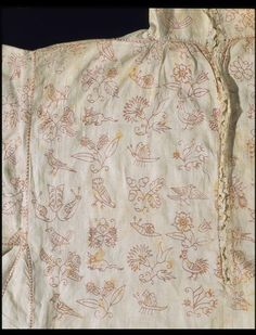1630, England - Smock - Linen, embroidered with silk