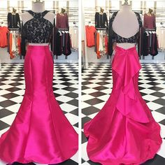 Outlet Mermaid Chapel Train Taffeta Long Sleeves Fushcia Long Prom Dresses Backless (Outlet Prom Dress 61192)