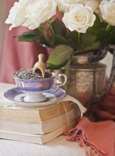 Fill a tea cup with dried lavender to freshen-up a room! www.cedarhillfarmhouse.com