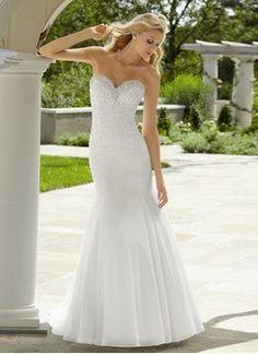 Trumpet/Mermaid Strapless Sweep Train Organza Satin Wedding Dress With Beading