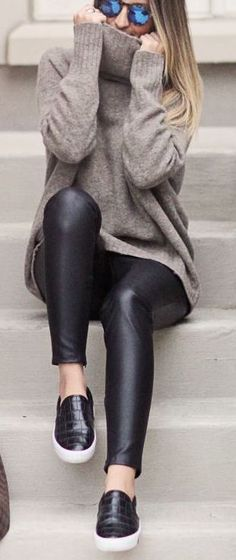 #fall #outfits / turtleneck knit + leather