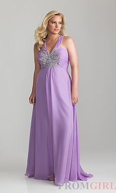 218cf1fcd3bb6 Floor Length V-neck Plus Size Dress at PromGirl.com Lavender Bridesmaid  Dresses