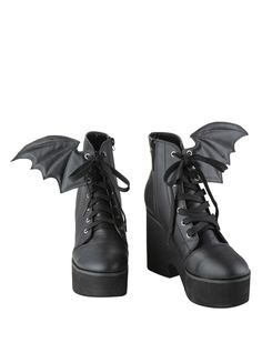 Ironfist Iron Fist Bat Wing Boots - OK, not for me, but I bet there are plenty of young women who would love them, lol. Lace Up Heel Boots, Black Lace Up Shoes, Black Platform Boots, Lace Up High Heels, Heeled Boots, High Heel Boots, Shoe Boots, Laced Boots, Platform Shoes