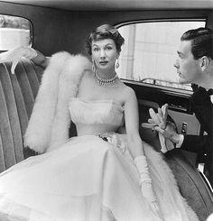 Julian Rose layered net evening dress 1950