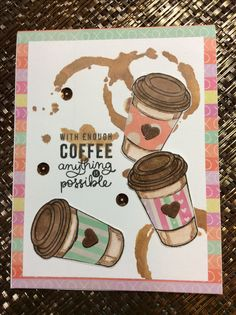 More stamping fun with SSS Feb coffee stamps and Tim Holtz splatters stencil with vintage photo distress ink for background.