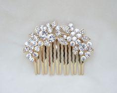 Rhinestone Gold Hair Comb / Bridal Hair Comb / by lyndahats