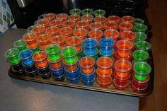 Great jello shots recipes:  sex on the beach (orange and cranberry jello, plain vodka, peach snapps) rum and coke (dark cherry jello, light rum, coke) lemon drop (lemon jello, citrus vodka, sugar sprinkles) grape crush (grape jello, plain vodka, chambord) hawaiian (pineapple (or blueberry) jello, coconut rum) gin and tonic (lime jello, gin, tonic water) margarita (lime jello, tequila, triple sec, lime juice, salt sprinkles) lemon lime (lemon and lime jello, citrus vodka, sprite