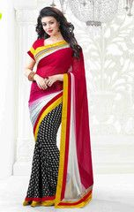 #White, #red and #black colour georgette material designer #saree - A must have in your party wear collection.