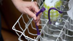 Save your stemware with Tether, a flexible plastic rod that stabilizes your stemware in the dishwasher.