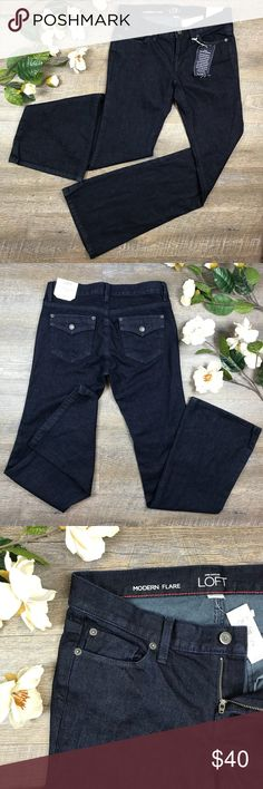 Ann Taylor LOFT Jeans NWT adorable Ann Taylor LOFT jeans! Dark wash, modern flare! 99% cotton, 1% spandex. Size 2. See images for measurements. B-29 LOFT Jeans Flare & Wide Leg