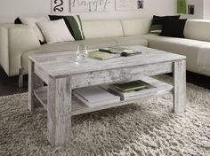 Shabby Chic White Pine Coffee Table Rustic Wooden Living Room New Side Table
