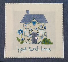 Appliqué cushion by The Apple Cottage Company - I am going to cross stitch this Applique Cushions, Applique Quilts, Embroidery Applique, Embroidery Stitches, Sewing Appliques, Applique Patterns, Applique Designs, Embroidery Designs, Applique Ideas