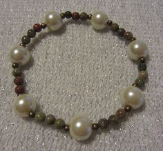 Unikite and Pearl Beaded Stretch Bracelet by SummerCAmber on Etsy, $10.00