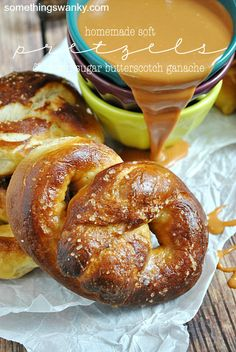 Homemade Soft Pretzels with Brown Sugar Butterscotch Ganache | www.somethingswan...