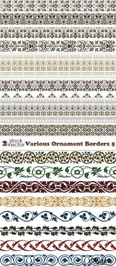 Vectors - Various Ornament Borders Border Design, Pattern Design, Alpona Design, Cnc Cutting Design, Fabric Stamping, Turkish Art, Stencil Templates, Floral Border, Vintage Ornaments