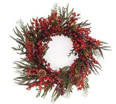 Winter Berry Wreath With Pinecones