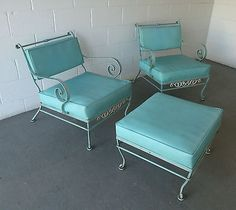 Vintage-Wrought-Iron-Hollywood-Regency-Patio-Chairs-and-Ottoman-WILL-SHIP