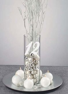 Wedding Table Numbers Frosted Etched Glass Vinyl Sticker Decals each - I'm thinking something like this or what you pinned might be easiest? How much do you think the vases would cost though? Wedding Table Decorations, Wedding Table Numbers, Christmas Centerpieces, Xmas Decorations, Wedding Themes, Wedding Ideas, Winter Table Centerpieces, Silver Wedding Centerpieces, Branch Centerpieces