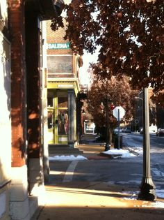 St. Louis street in fall. Historic Cherokee district