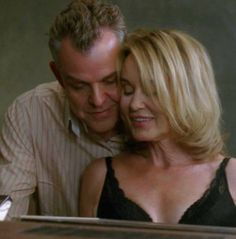 Fiona Goode (Jessica Lange) and The Axeman (Danny Huston) American Horror Story: Coven. | Best tv couple in ages, I love a bit of evil!