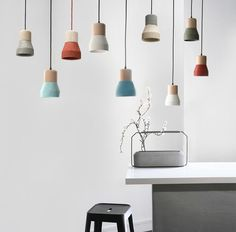 Toro Concrete Lamp With Wood. Minimalist Pendant Light – Tudo And Co