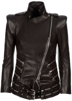 Buy now BALMAIN Zip Detail Leather Jacket in Black for Women by Leathers Shop! Black leather fitted jacket from BALMAIN featuring a high neck, silver tone hardware with an off center zip fastening and three quarter length sleeves http://www.leathersshop.net/products/BALMAIN-Zip-Leather-Jacket.html