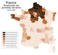 Potato production by French département - Vivid Maps Cartography, World History, Potatoes, French, Maps, Abstract, Alsace, Anthropology, Infographics