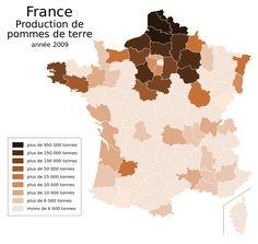 Potato production by French département