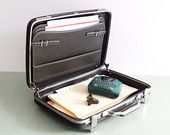 American Tourister Briefcase / Hard Shell with Chrome Accents / Dark Green Black by @timandkimshow   #office #etsyvintageteam #travel #organize #briefcase #vintage #forsale #sturdy