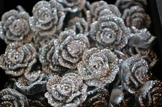 Sparkling silver roses