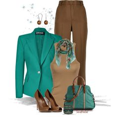 Teal & Chocolate, created by sassafrasgal on Polyvore...I love these colors together, and jut got a handbag to wear them :)
